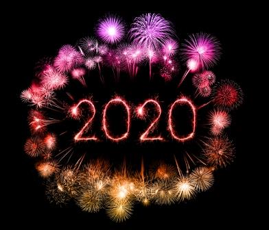 2020 happy new year fireworks written sparklers at night